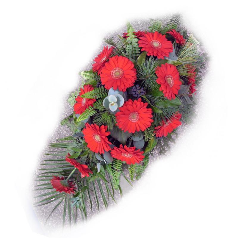 Bēru štrauss ar sarkaniem ziediem